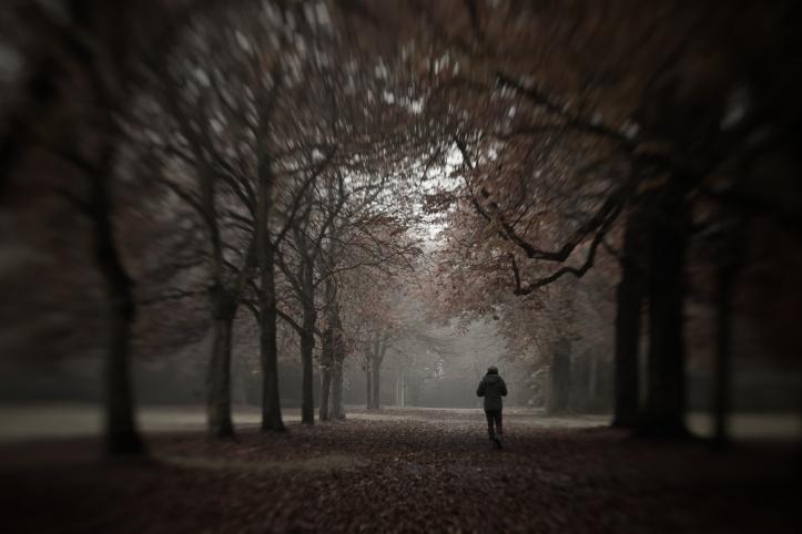 Depression - Mann läuft durch Herbstwald
