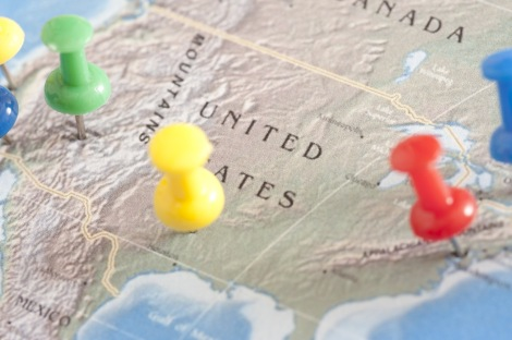 US Travel Concept - Pins on United States Map